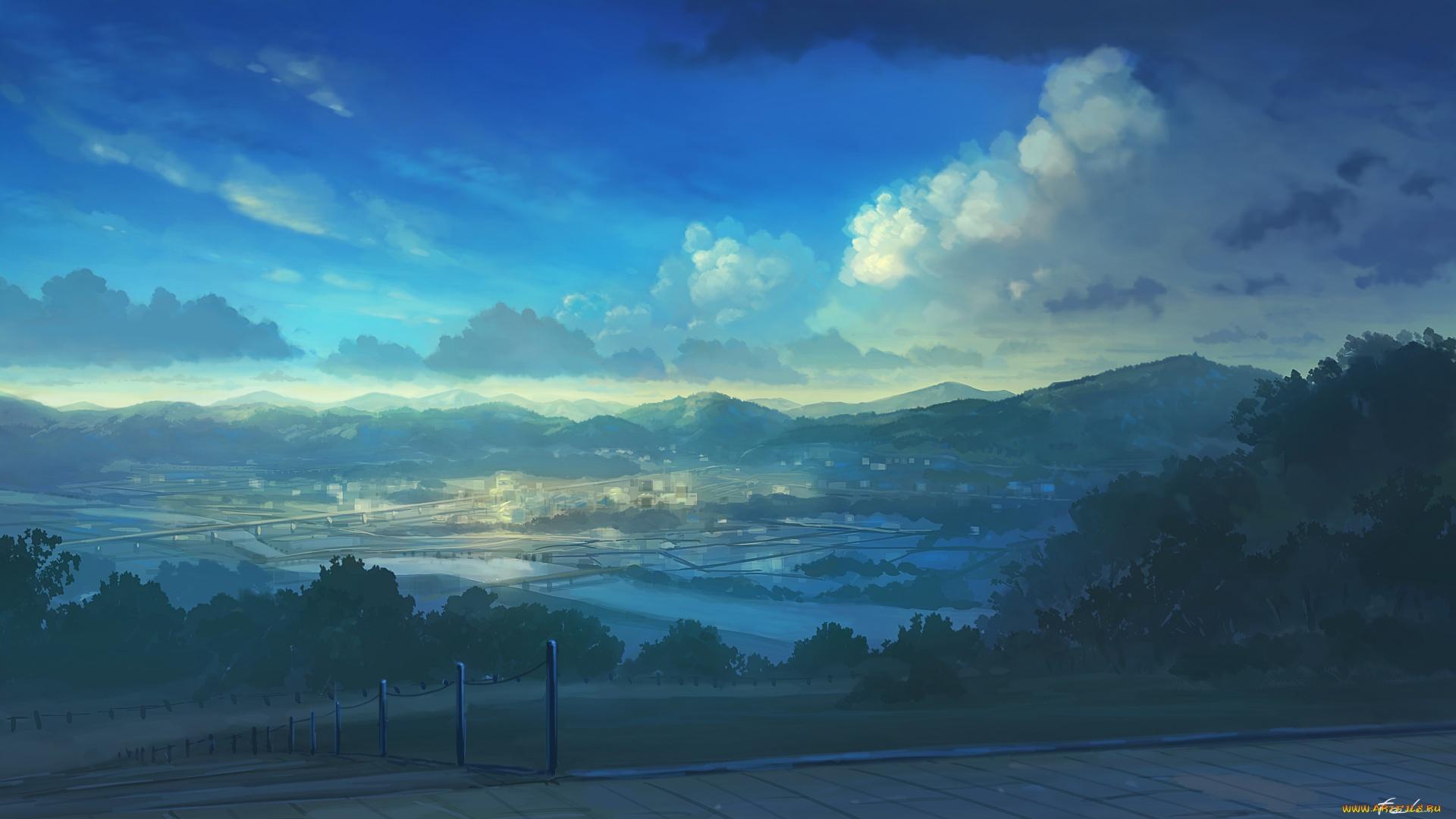 Anime Landscape With Clouds desktop background