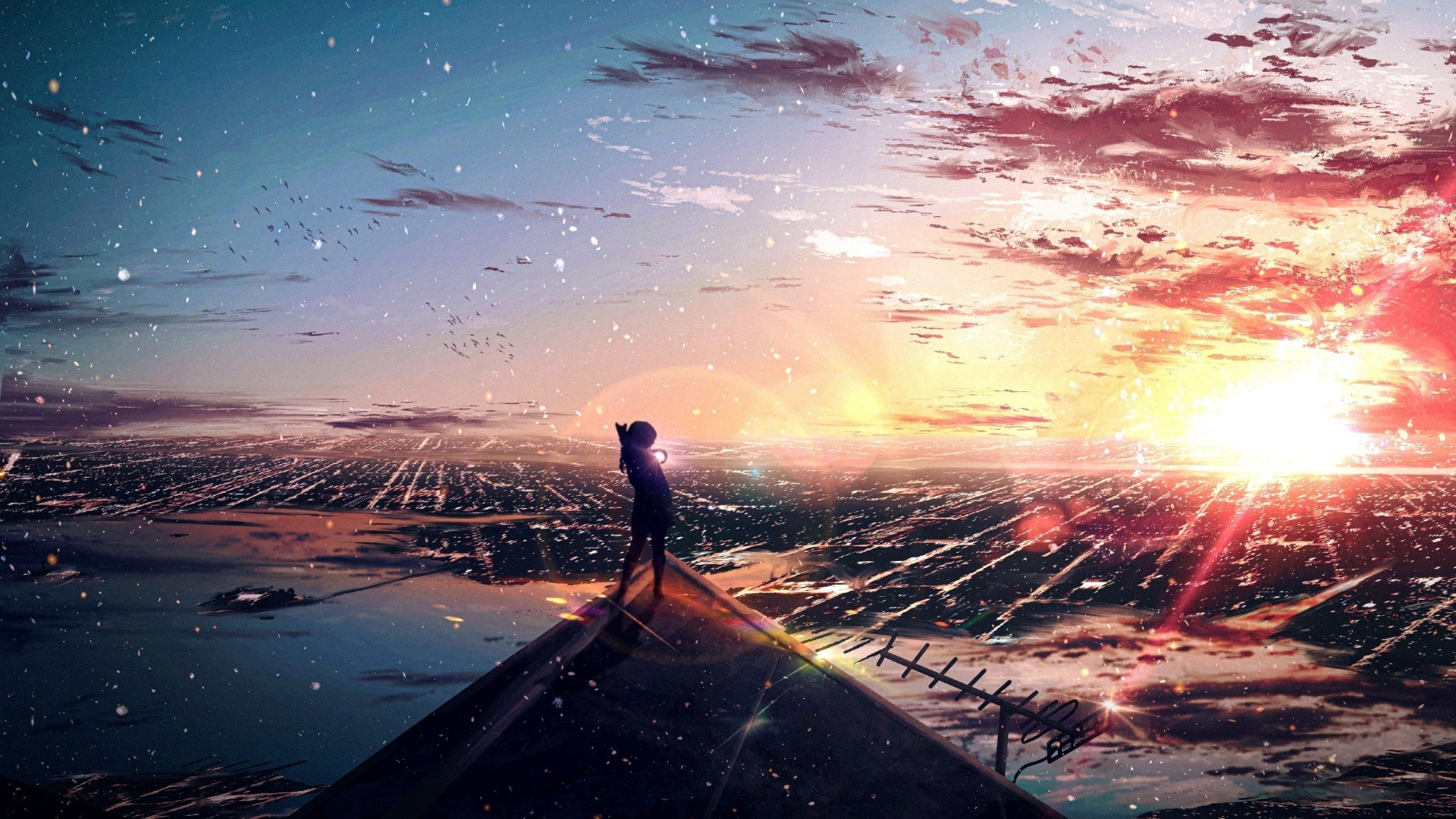 Anime Landscape With Clouds cool background