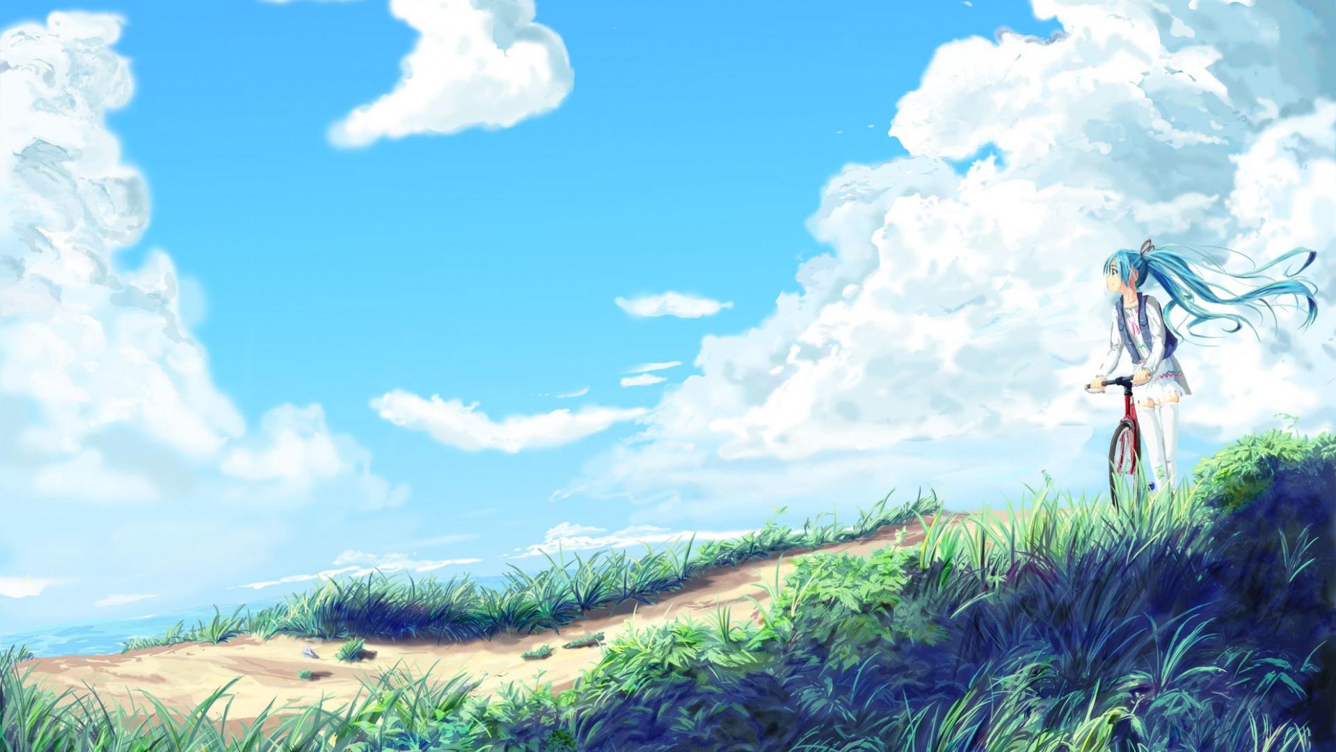 Anime Landscape With Clouds desktop wallpaper free download