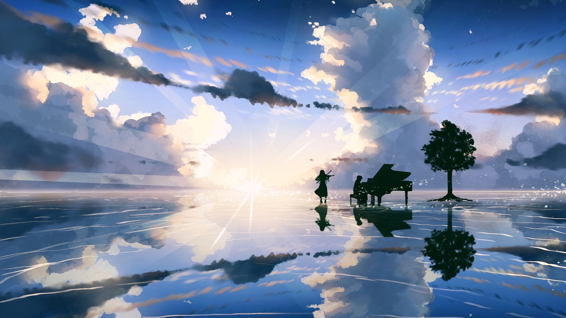Anime Landscape With Clouds free pic
