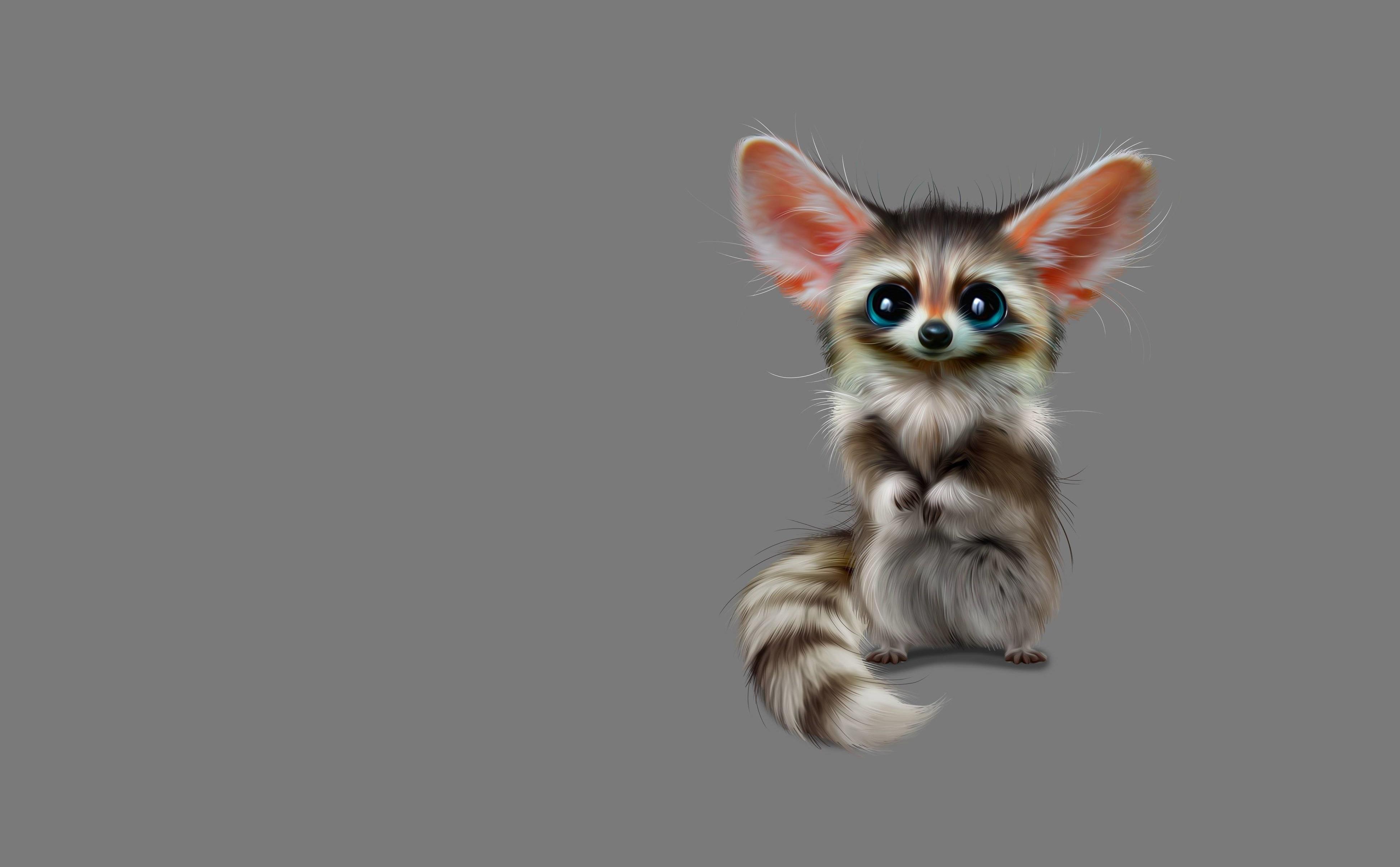 Animal With Big Eyes Art pc wallpaper