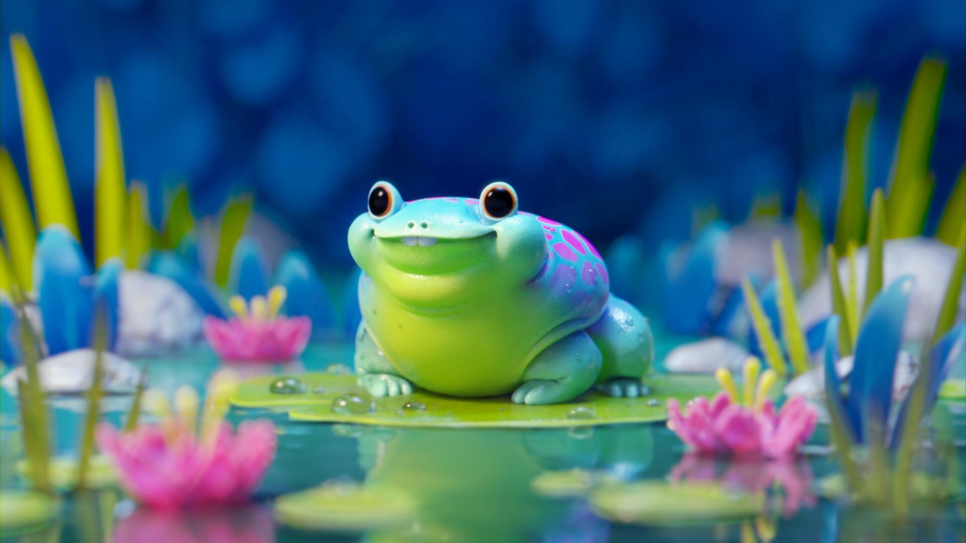 Cartoon Frog free background